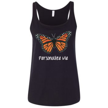 Monarch Butterfly Personalized in Dark Colors Ladies' Relaxed Jersey Tank