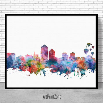 Albuquerque Skyline, Albuquerque Art Print, Albuquerque New Mexico, Office Decor, Office Art, Watercolor City Prints, ArtPrintZone