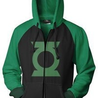 The Green Lantern Icon Men's Black  Green Zip-Up Hooded Sweatshirt Hoodie