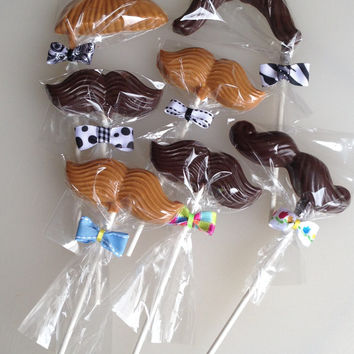 6 Easter Chocolate Mustache Lollipops with Bow Ties Party Favor
