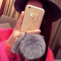 Fashion Fur Ball Pendant Tassel Soft TPU Back cover Phone Case For Iphone 5 5S 6 6S 6Plus 6S Plus