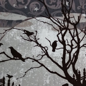 SCARY NIGHT Halloween Black birds dead trees graveyard black cat full moon stars silhouettes shadows 1 Yard Excellent Fabric Genius Projects