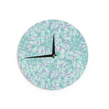 "Julia Grifol ""My Turquoise Flowers"" Teal Pink Wall Clock"