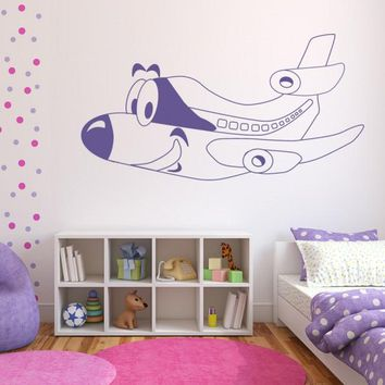 Wall Vinyl Decal Sticker Bedroom Nursery Kids Baby Cartoon Plane Airplane  z661