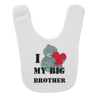 I love My big Brother Teddy bear Love Baby Bib