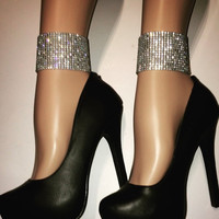 Pair of Rhinestone ankle cuffs/ Anklet (Chain or stretch ribbon closure )/ Clubwear