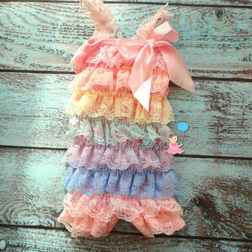 Shades of Pastel Laces Petti Romper
