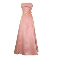 A-line Strapless Sleeveless Floor-length Satin Bridesmaid Dress With Sashes Free Shipping