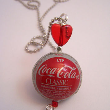 Coca Cola Classic Bottle Cap Bead with heart Necklace