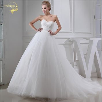 Jeanne Love Sweetheart Wedding Dresses 2018 ALine Wedding Gowns Soft Tulle Lace With Beading Robe De Mariage Plus Size JLOV75954