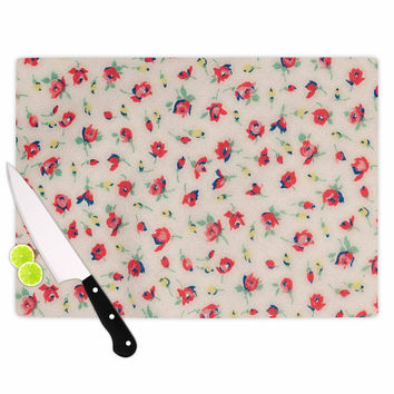 """Robin Dickinson """"Vintage Flower Love"""" Red Pink Cutting Board"""