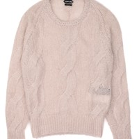 Tom Ford Mens Ivory Mohair Silk Cable Knit Crewneck Sweater