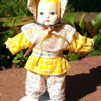 Porcelain Doll Miniature Baby Girl Doll Bonnet Floral Outfit Collectible Doll with Stand Collector Piece Young Girl Gift
