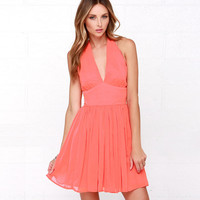 Orange Chiffon Halter Backless Pleated Mini Dress