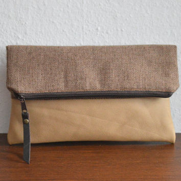 Foldover clutch in real leather and fabric, everyday clutch bag, simple clutch purse