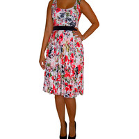 Red floral dress, circle skirt, sleeveless, scoop neck, empire band