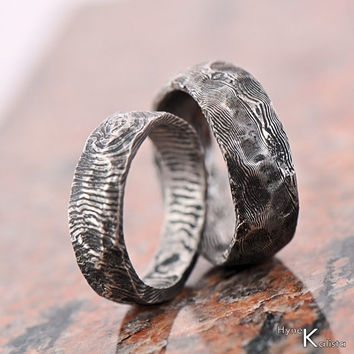 Custom Wedding Ring - Stainless Damascus steel, Mens ring, womens ring - Natura