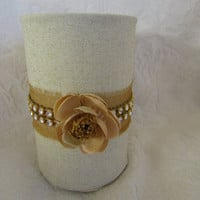 Wedding Guest Sign In Pen Pencil Holder Organizer FLower gold Organza and Rhinestone Trim Desk Organizer