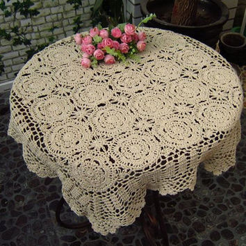 "28X28"" ,Square  Handmade Crochet Flower Tablecloth     869"