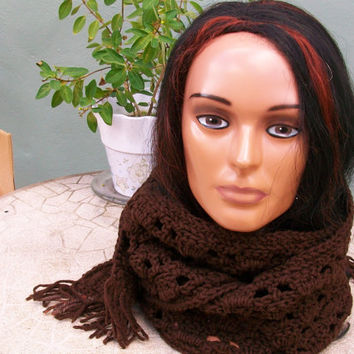 Scarf - Brown with short fringe