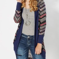 Navy Tribal Knit Duster | Cardigans & Wraps | rue21