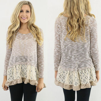 New Women Long Sleeve Slim Lace Hem off Two Sweater Knitting Wool Warm Pullover SM6