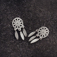Sterling Silver Bohemia Nationality Indian Feather Dream Catcher Stud Earrings