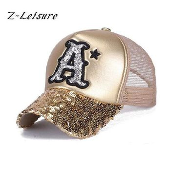 VONG2W 2017 Summer Hat Baseball Cap Sequins Bling Hinning Mesh Caps Adjustable Fashion Women Girls Hats Snapback Casual Gorra  BC037