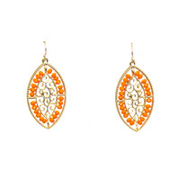 Fills Of Beads & Curls Earrings In Orange