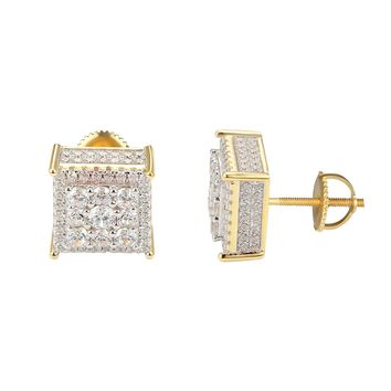 Sterling Silver  Square Cluster Iced Out 14k Gold Finish Earrings