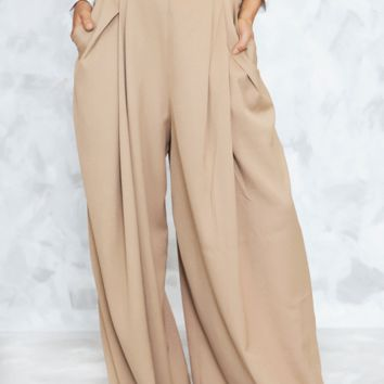 HIGH-WAISTED PALAZZO PANT - TAUPE