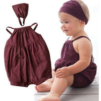 Hot selling baby girl clothes Deep red harnesses+Head belt 2/pcs carters bebe newborn Summer baby clothing set