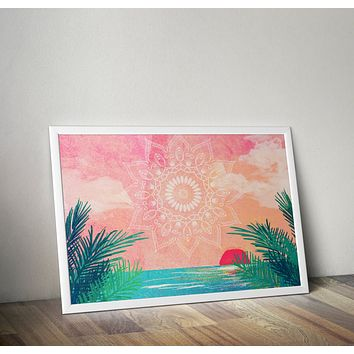 Reiki Charged Ocean Mandala Beach Poster Bohemian Art Print Poster With Green and White  Design no frame 20x30 Large