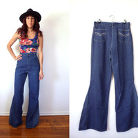 "High Waist Bell Bottoms Jeans 70's Vintage // 32"" Waist"