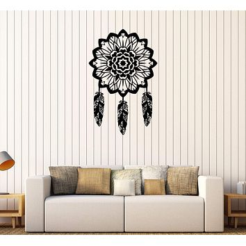 Vinyl Wall Decal Dreamcatcher Bedroom Decoration Feathers Mural Stickers Unique Gift (456ig)