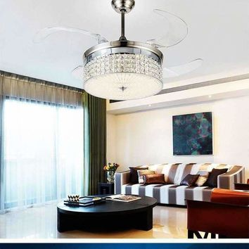 LED light ceiling chandelier fan variable expansion simple modern living room dining room bedroom ceiling chandelier fan light