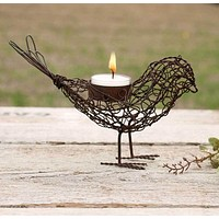 Wire Bird Tea Light Holder - Set of 4