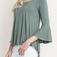 3/4 Bell Sleeve Top with Open Back