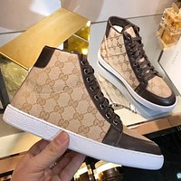 "Hot Sale ""GUCCI"" Popular Women High Top Sport Shoes Sneakers Khaki/Coffee"