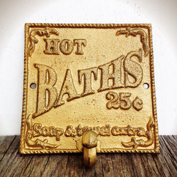 Shimmering Metallic Gold Bath Sign Wall Hook - Vintage Inspired Cottage Chic