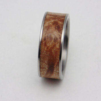 Titanium and Maple burl inlay wedding band