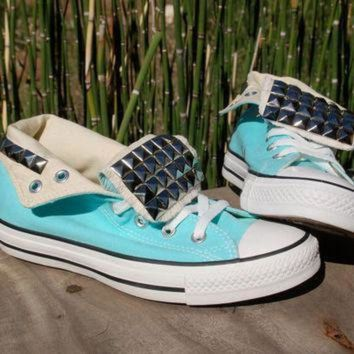 DCCKGQ8 studded converse tiffany blue high tops studded shoes chucks