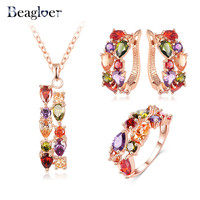 Beagloer Brand Luxury Rose Gold Plated Multicolor Cubic Zircon Earrings/Necklace/Ring Women Wedding Jewelry Set Gifts CST0030-A