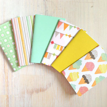 Small Notebook Set: 6 Notebooks, Mint, Coral, Ice Cream, Sweet, For Her, Gift, Kids, Wedding, Favors, Small Notebook, Stamped, Unique