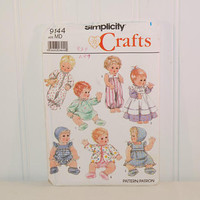 "Simplicity 9144 Baby Doll Clothes Sewing Pattern (c. 1994) Simplicity Crafts Doll Sizes Small 13""-14"", Medium 15""-16"", Large 17""-18"", Gifts"
