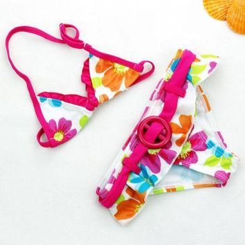 DCCK7N3 Girls Swimwear 2 Pieces Flowers Pattern Kids Bikini Set Children Swim suit  2-8 Y Bathing Biquini Swimming Wear sw0666