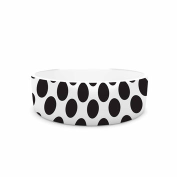 "Zara Martina Mansen ""XOXO Pop Art Polka Dot Girl"" Black White Pet Bowl"