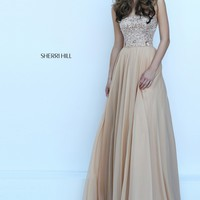 Sherri Hill 50305 Gold Beaded Strapless Chiffon Dress