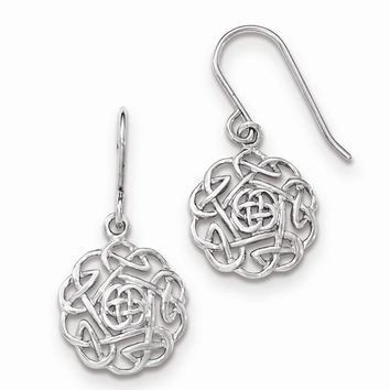 Sterling Silver Polished Celtic Dangle Shepherd Hook Earrings