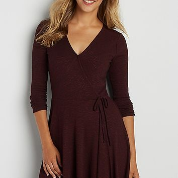 ribbed sweater dress with wrap front | maurices